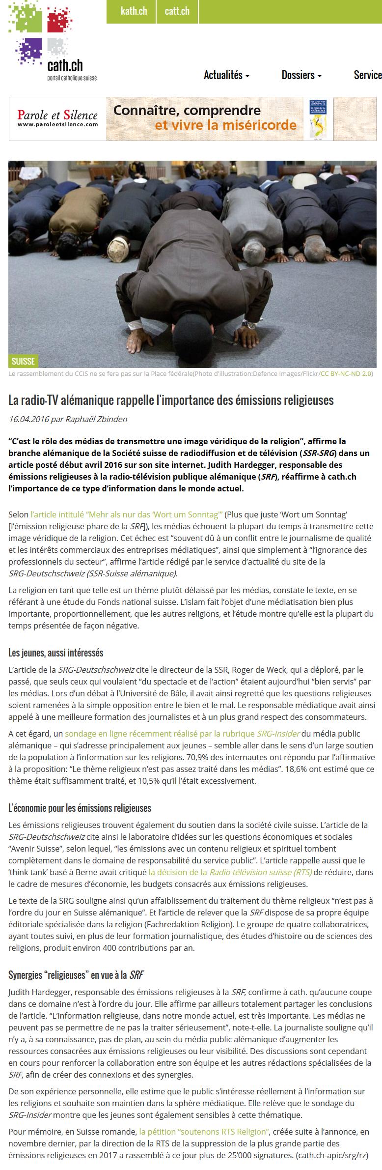 2016-04-16 SRF rappelle l'importance des émissions religieuses (cath.ch)