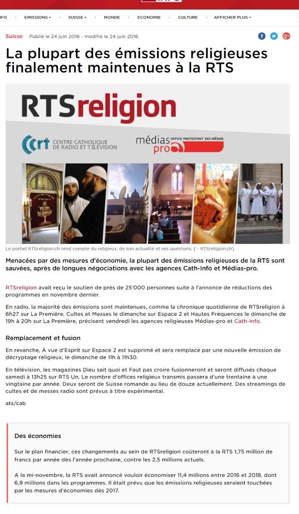 thumbnail of 2016-06-24 La plupart des émissions religieuses finalement maintenues à la RTS (RTS)