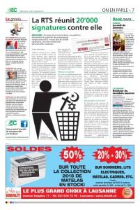2016-01-07 La RTS réunit 20'000 signatuers contre elle (Lausanne-Cités)