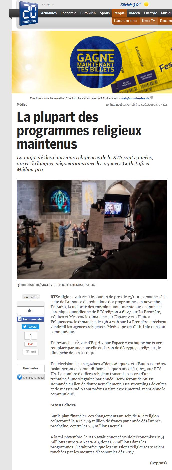 2016-06-24 La plupart des programmes religieux maintenus (20min)