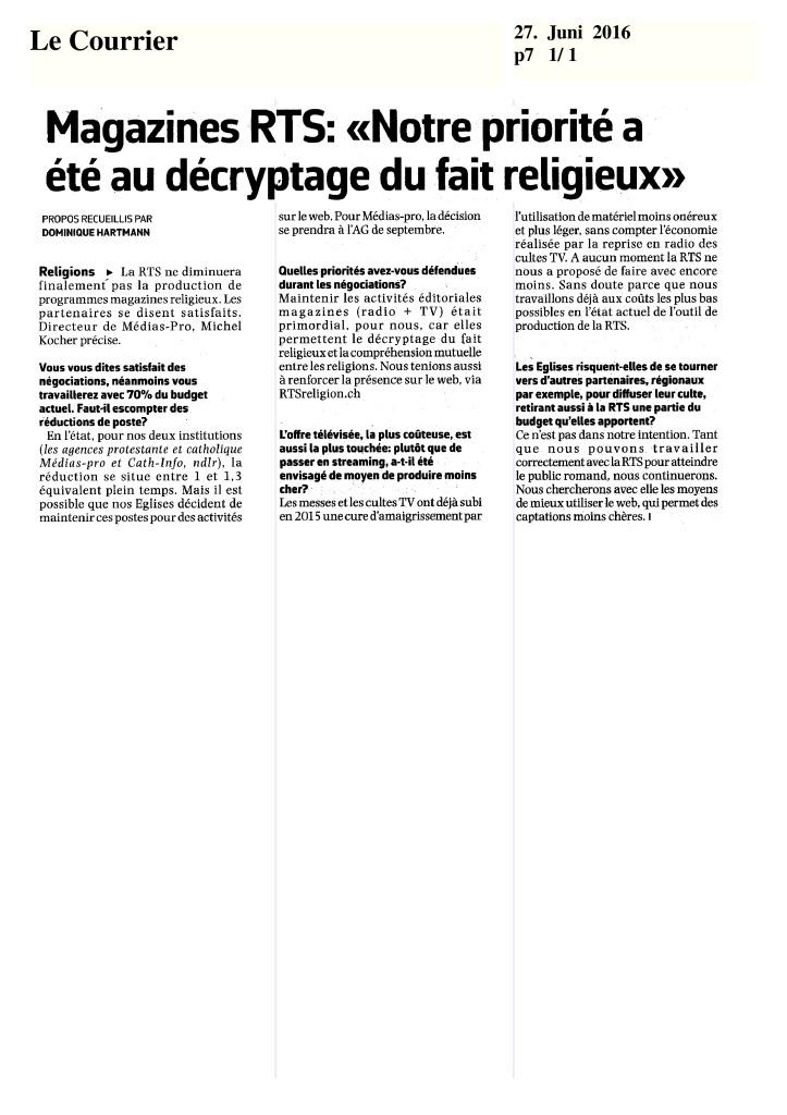 thumbnail of 2016-06-27 Magazines RTS notre priorité a été au décryptage du fait religieux (Le Courrier)
